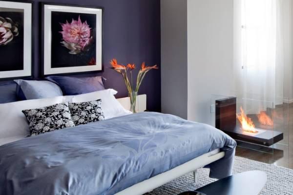 Интерьер спальни в фиолетовых тонах - фото фиолетовых стен