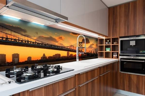 3Д фотообои как кухонный фартук