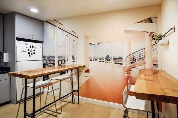 Фотообои с красивым видом на кухне