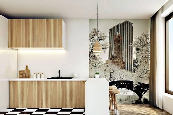 Скандинавский дизайн кухни с фотообоями на стене