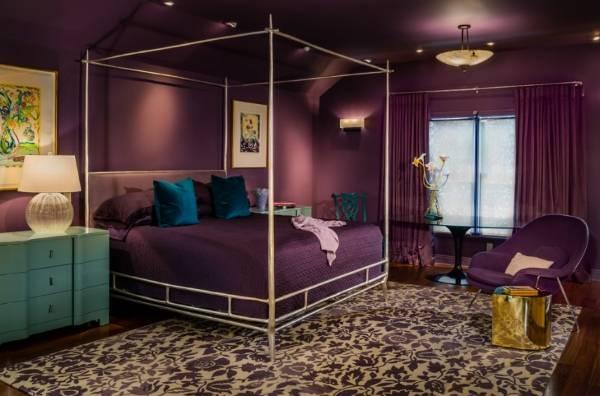 Дизайн спальни в фиолетовых тонах - фото с ярким декором