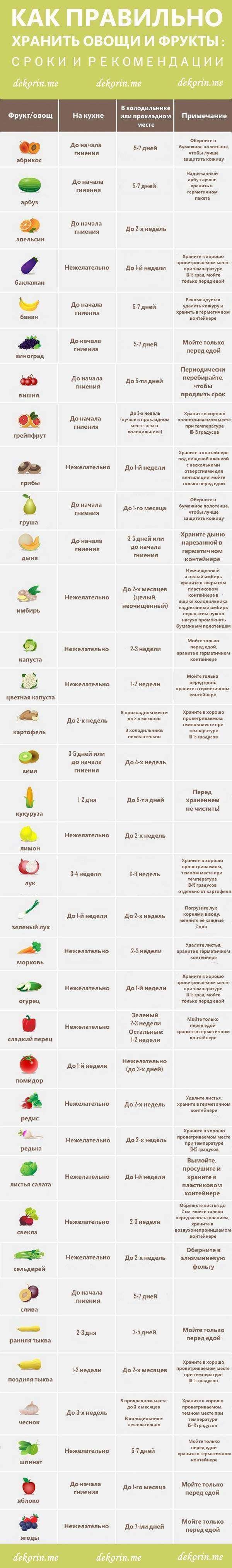 Правильные условия хранения овощей