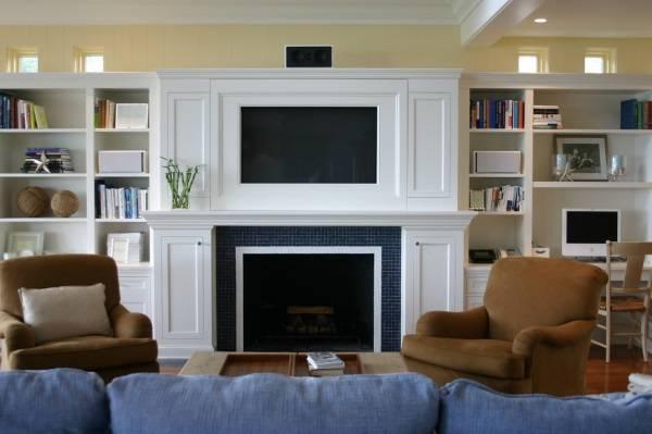 При каких условиях можно вешать телевизор над камином