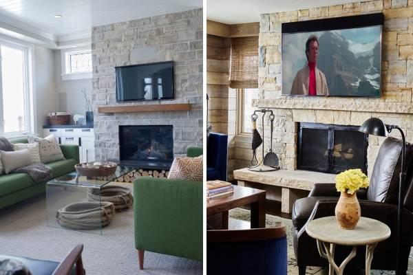 Телевизор над камином в интерьере гостиной - фото с каменной отделкой