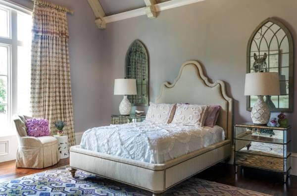 Дизайн штор в спальне в стиле шебби шик