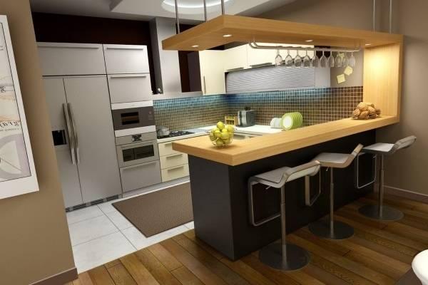 Интерьер угловой кухни с барной стойкой - фото лучших идей