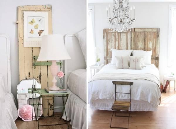 Старая древесина в спальне шебби шик