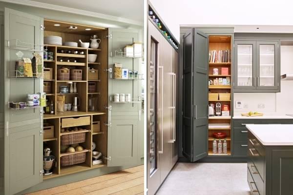 Шкаф-кладовая в дизайне кухни - тренд 2018