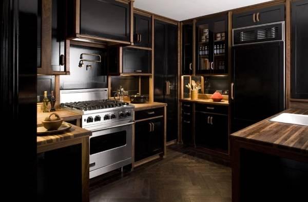 Дизайн кухни 2017 - фото новинки в черном цвете