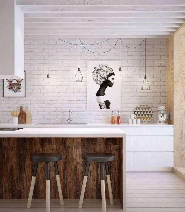 Белая кирпичная стена на кухне в стиле лофт