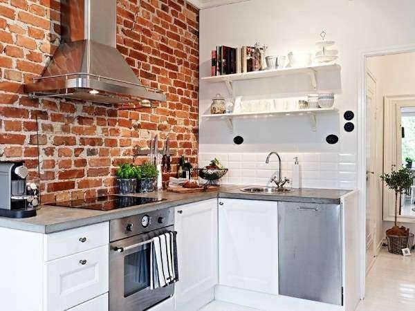Дизайн кухни в стиле лофт - фото с красной кирпичной стеной