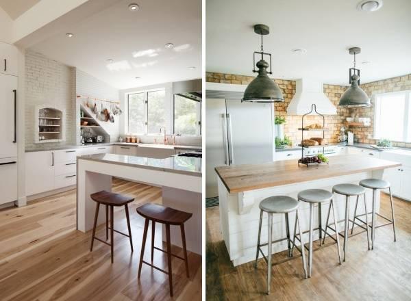 Белая кухня в стиле лофт с барной стойкой - два фото
