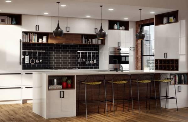 Кухни в стиле лофт - фото с плиткой на стенах