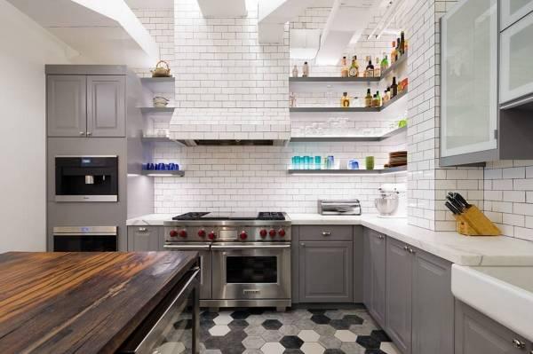 Дизайн плитки в стиле лофт для кухни - фото в интерьере