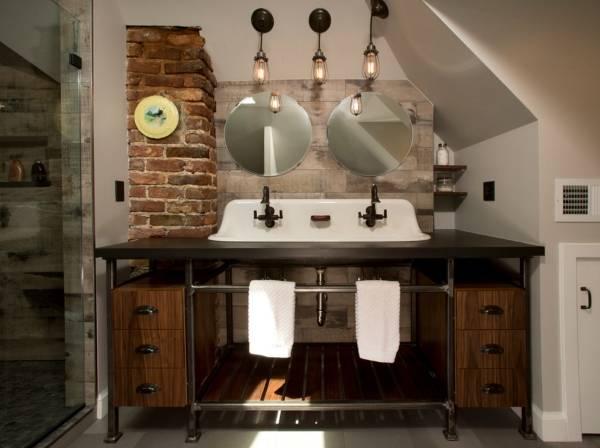 Лампы Эдисона в интерьере - фото ванной комнаты