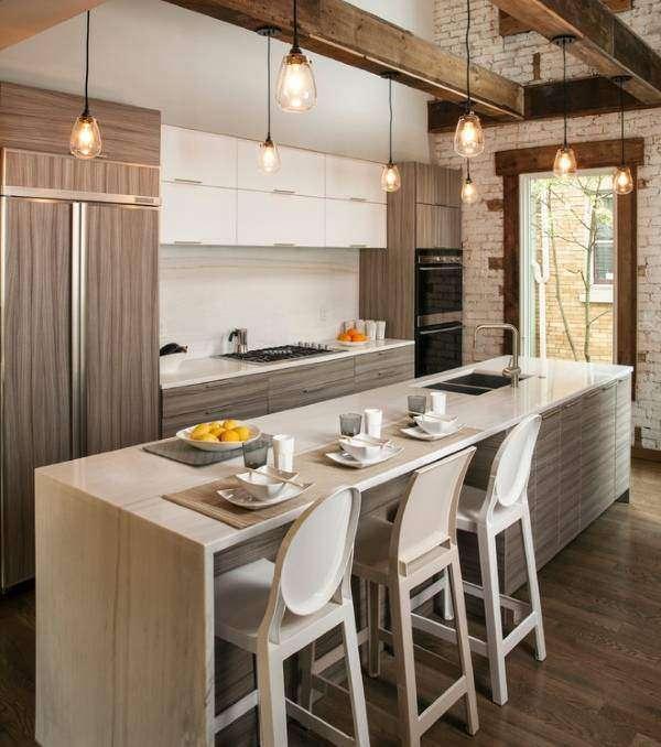 Ретро лампочки Эдисона в интерьере кухни