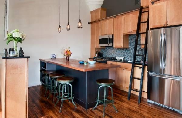 Лампочка Эдисона - фото на кухне в стиле лофт