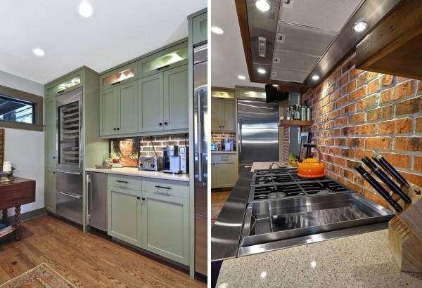 Темно-зеленая мебель для кухни в стиле лофт