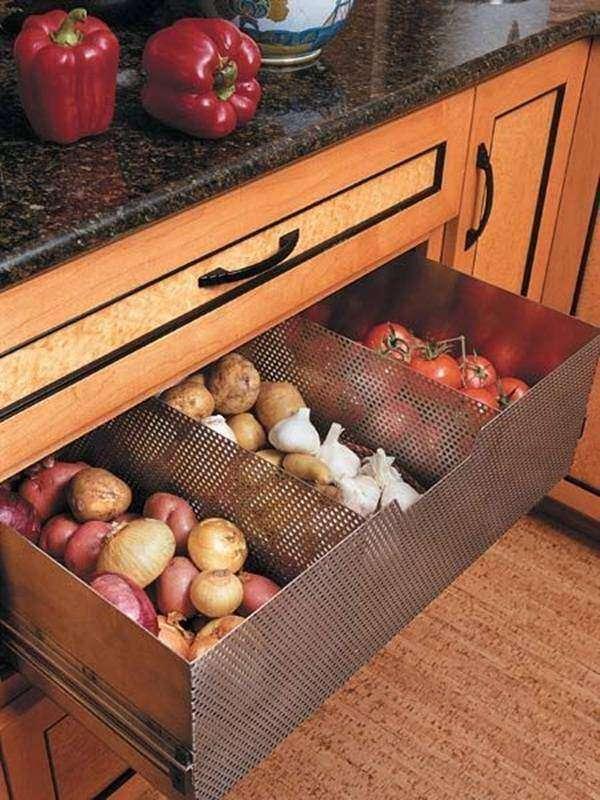 Металлический перфорированный ящик для овощей