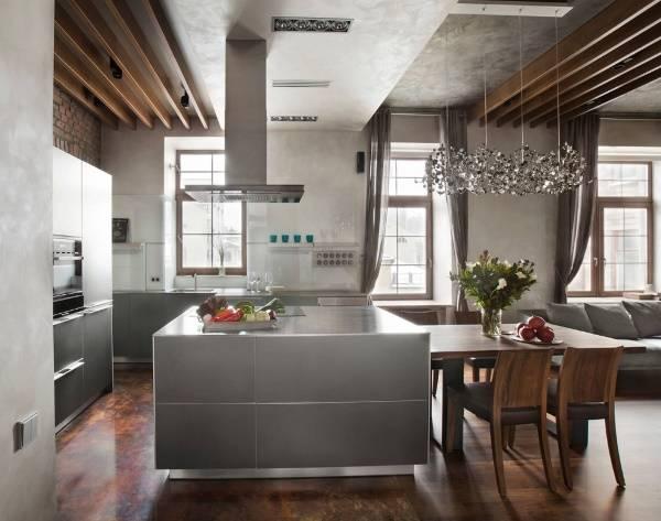 Интерьер кухни в стиле лофт - фото в сером и коричневом цвете