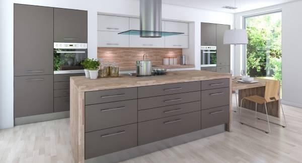 Современный дизайн кухни 2018 - фото со шкафами серого цвета