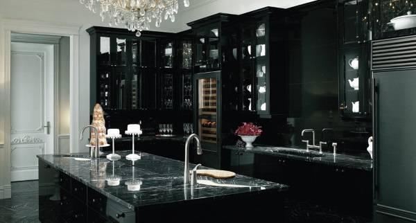 Черные кухонные шкафы - современные идеи 2017 года