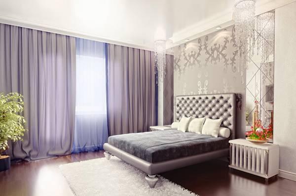 Современная фиолетовая спальня в светлых тонах