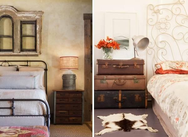 Спальня в стиле шебби шик со старыми предметами мебели