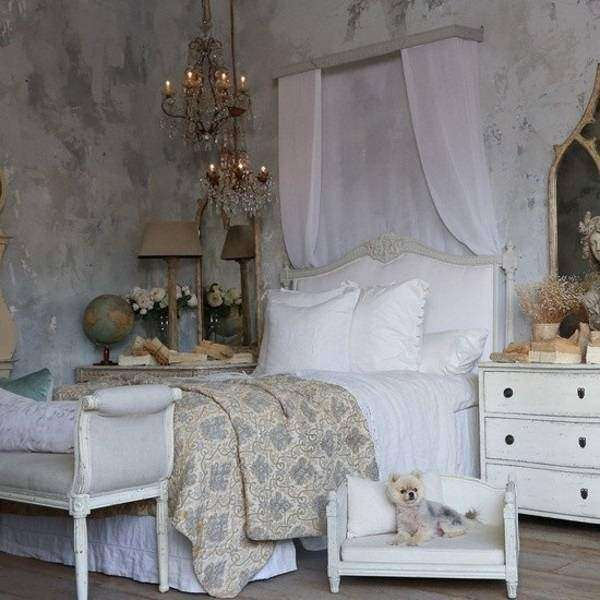 Спальня шебби шик - фото в серых тонах