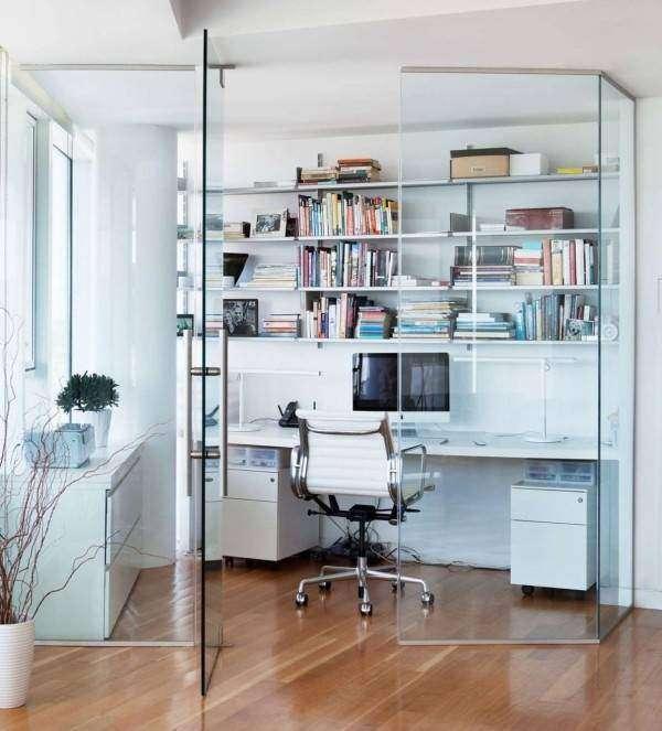 Домашний офис за стеклянными перегородками