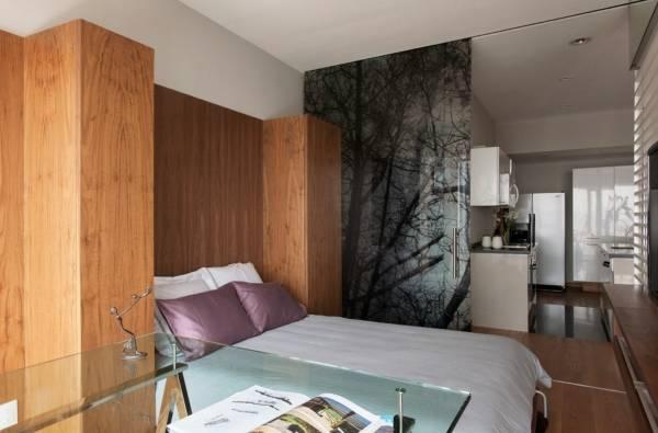 Стеклянные перегородки в квартире - фото квартиры студии