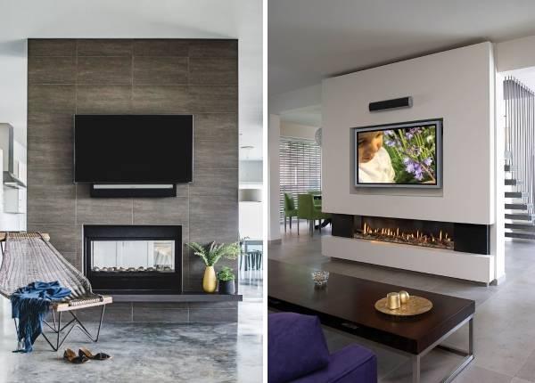 Телевизор и камин, встроенные в перегородку