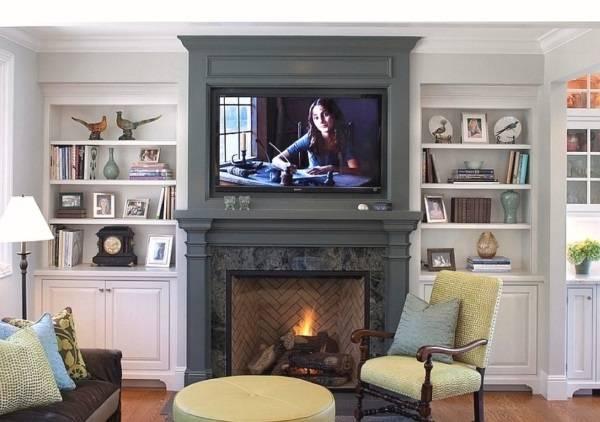 Можно ли вешать телевизор над обычным камином