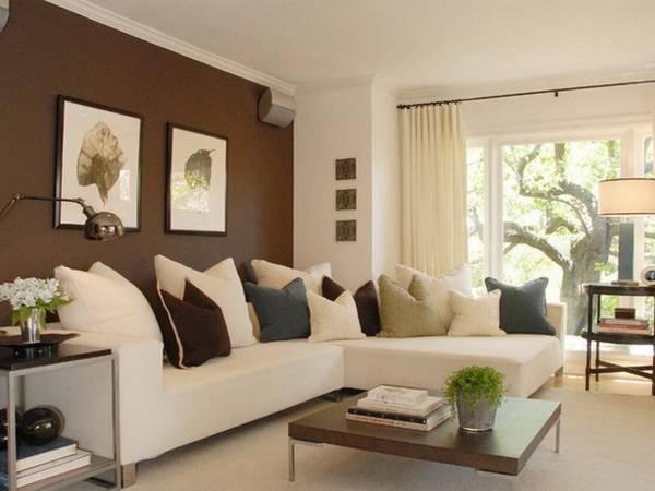 Темно-коричневые стены в дизайне гостиной с белым диваном
