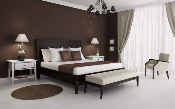 Темные обои коричневого цвета в дизайне спальни