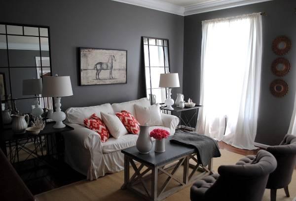 Темные обои серого цвета - с чем сочетать в зале