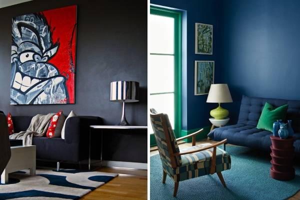 Темно-синие стены в дизайне гостиной