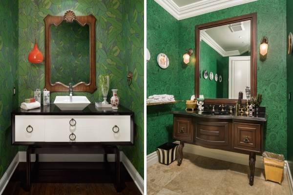 Красивые интерьеры комнаты с темно-зелеными обоями