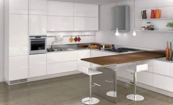 Кухни угловые с барной стойкой - современный дизайн на фото