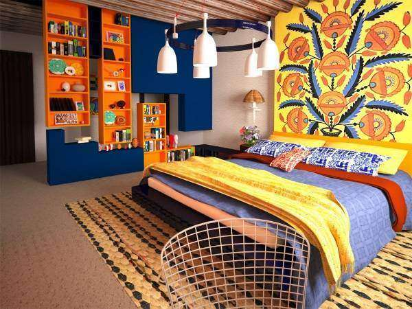 Интерьер спальни в этническом славянском стиле
