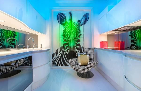 Ультра-современная кухня с фотообоями с животными