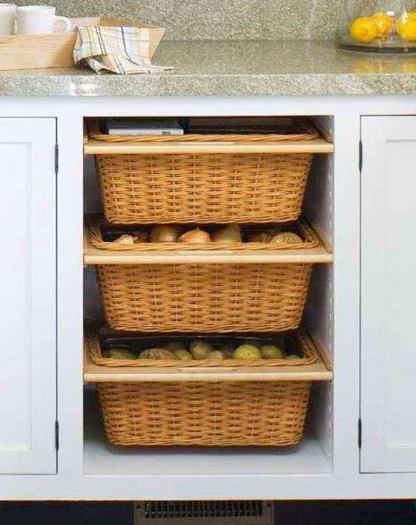 Хранение овощей и фруктов на кухне в корзинах