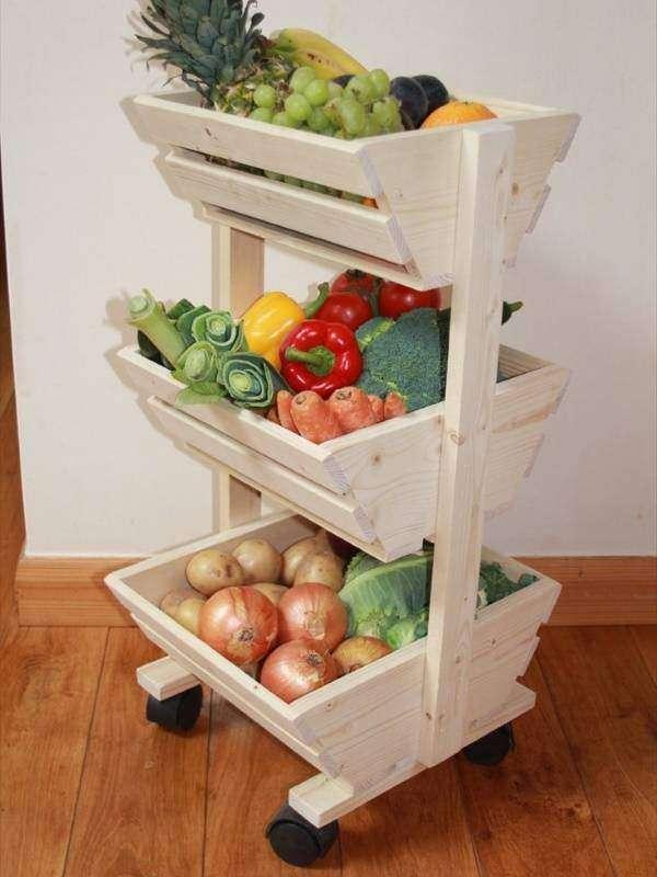 Этажерка на колесиках для хранения овощей на кухне