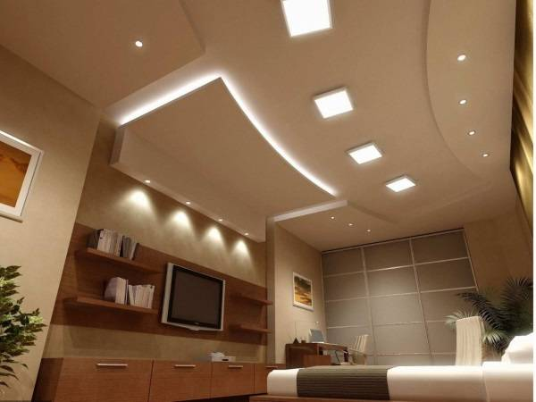 Необычное расположение точечных светильников на потолке - фото