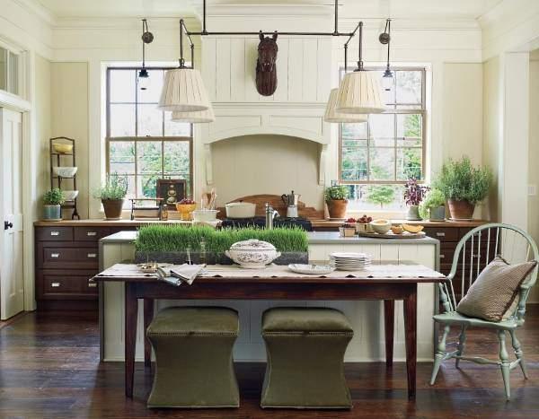 Как украсить кухню - зеленые травы в интерьере