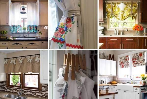 Как украсить окно на кухне шторами своими руками