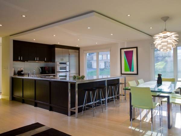 Схема расположения точечных светильников на потолке кухни