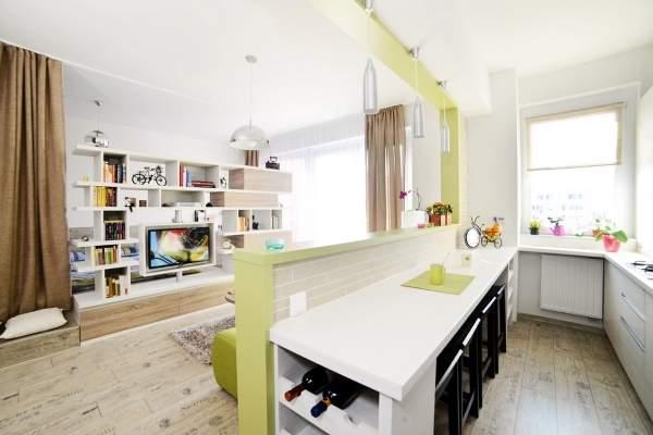 Кухня в дизайне однокомнатной квартиры с ребенком