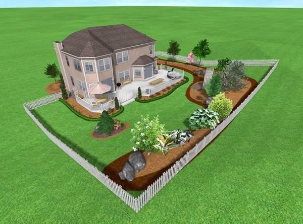 Ландшафтный дизайн загородного дома 15 соток - фото проекта