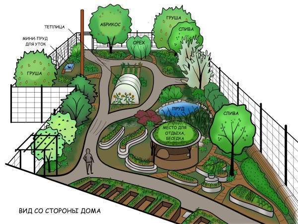 Ландшафтный дизайн огорода или дачи загородного дома